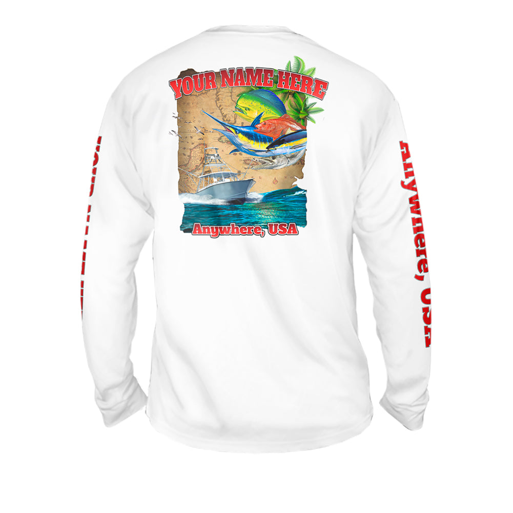 Grand Slam Map - Mens Performance Long Sleeve Spot Print
