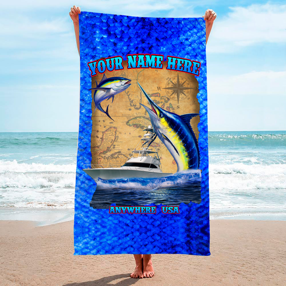 Big Blue Scales Map - Premium & Standard Towel