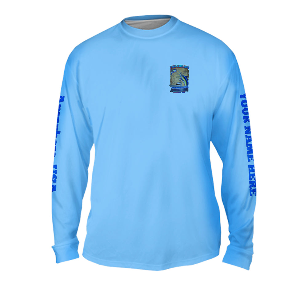 Big Blue Scales Map - Mens Performance Long Sleeve Spot Print