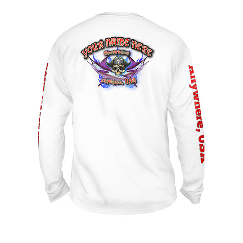 Pirate Fishing Crystal Waters - Mens Performance Long Sleeve Spot Print