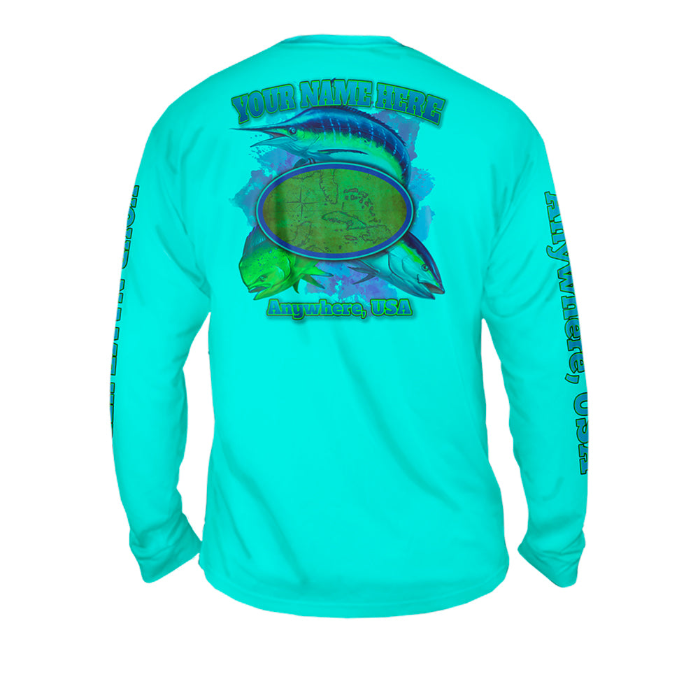 The Hunt Map - Mens Performance Long Sleeve Spot Print