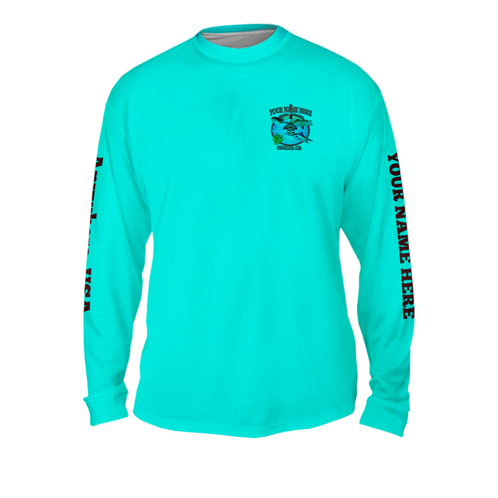 Lighthouse Point Medley - Mens Performance Long Sleeve Spot Print