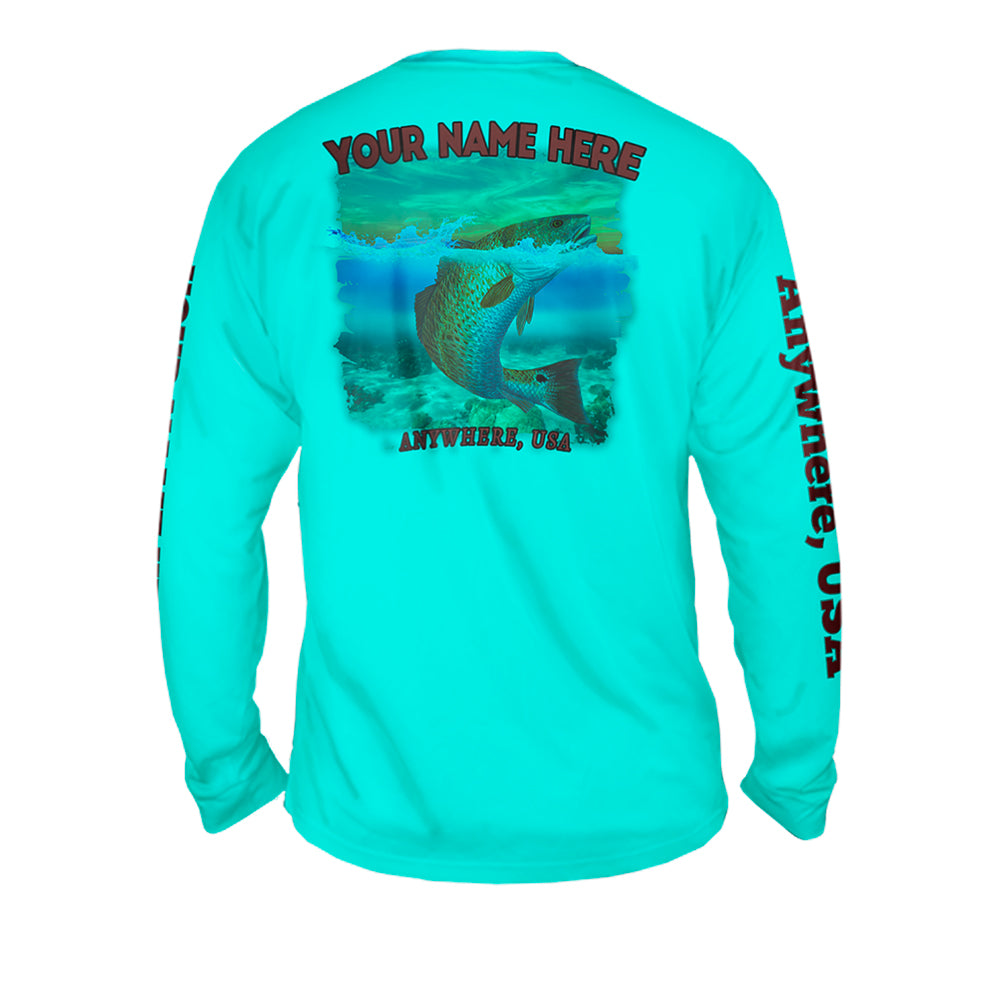 Redfish Roundup - Mens Performance Long Sleeve Spot Print