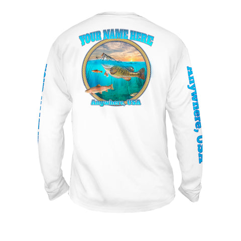 Freshwater Life - Mens Performance Long Sleeve Spot Print