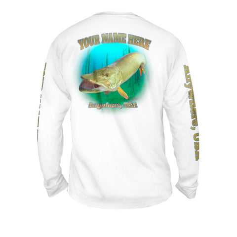 Muskie Strike - Mens Performance Long Sleeve Spot Print