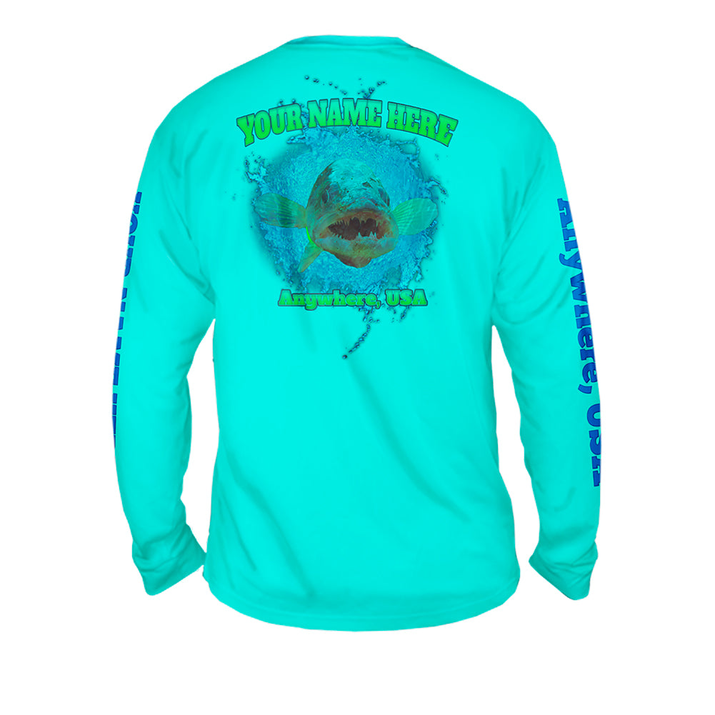 Walleye Attack - Mens Performance Long Sleeve Spot Print