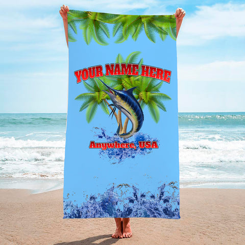 Marlin Palm Trees Light Blue - Premium & Standard Towel