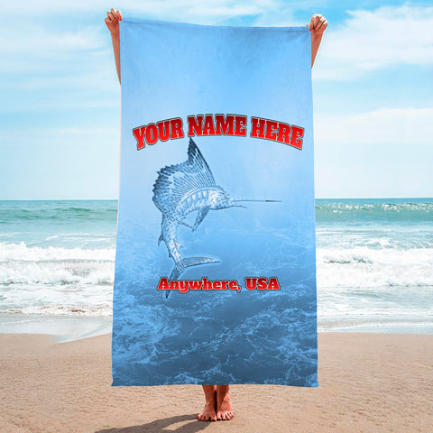 Metallic Marlin Light Blue - Premium & Standard Towel