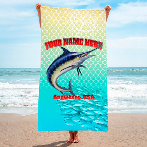 Marlin Chomp Yellow Turquise - Premium & Standard Towel