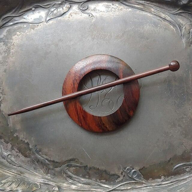 Jul Classic Round Rosewood Shawl Pin SP2