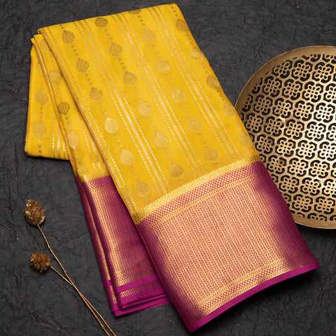 Honey yellow Mysore crepe silk saree
