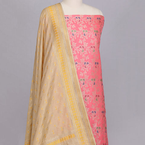 Pink Banarasi silk unstitched suit