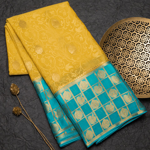 Pineapple yellow pure mysore silk crepe saree