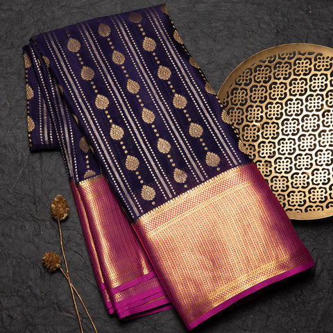 Navy blue Mysore crepe silk saree