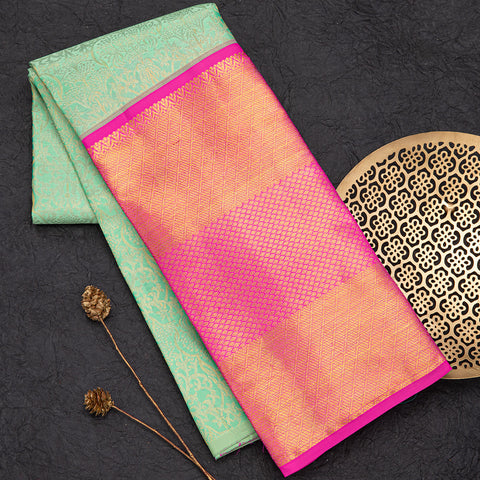 Sea Green and Pink pure silk pavada