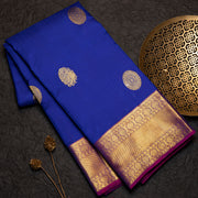 Ink blue designer silk saree