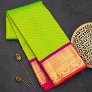 Parrot green and Pink pure fancy silk designer saree