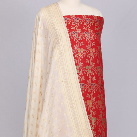 Red Banarasi silk unstitched suit