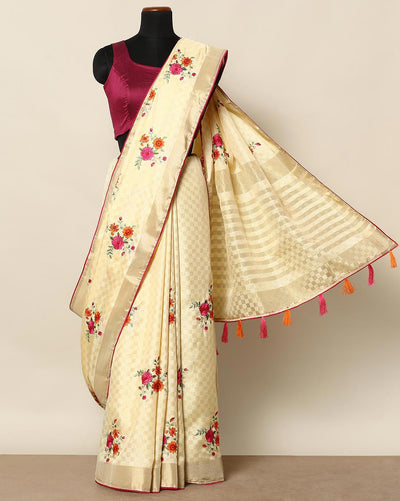 Cream semi tussar saree
