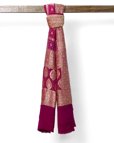 Magenta Pink and Purple pure Banarasi georgette dupatta
