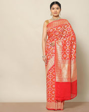 Red Pure banarasi georgette saree