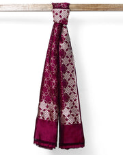 Wine colour geometrical banarasi silk dupatta