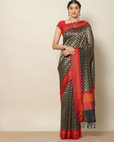 Black kora silk saree