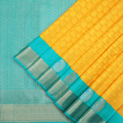 Canary yellow self jacquard Kanchipuram Silk Saree