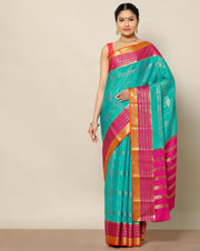 Anandha blue pure Mysore silk checked saree
