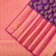 Purple and peach bridal Kanchipuram saree
