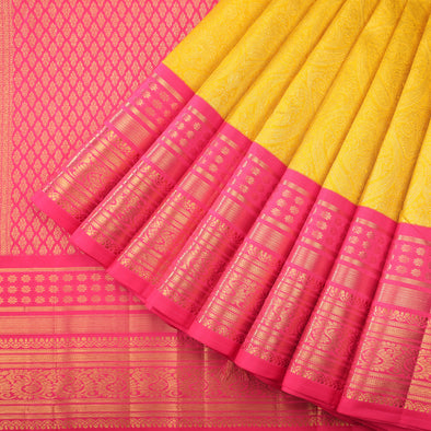 Golden yellow occasional wear kanivaram