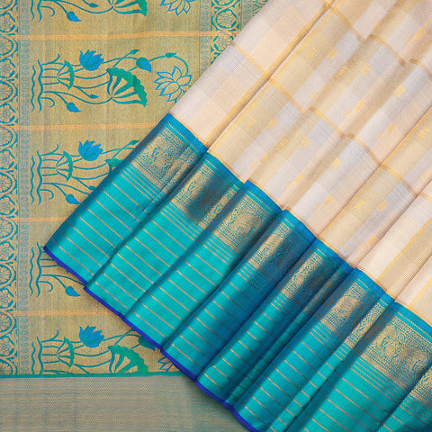 Off White Kanchipuram checked Silk Saree