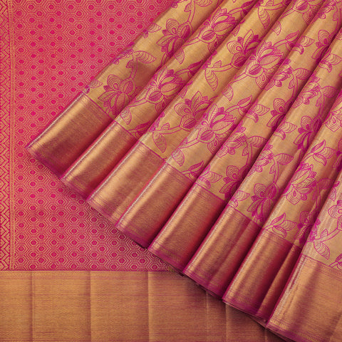 Pink and gold tissue pure silk saree