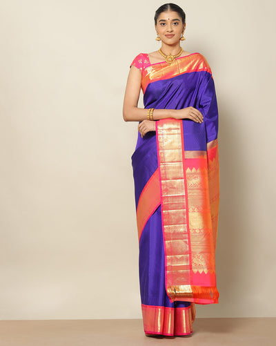 Purplish blue designer silk saree