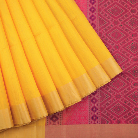 Yellow Soft Silk Dupion Saree