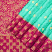 Sea Green pure Mysore crepe silk Saree