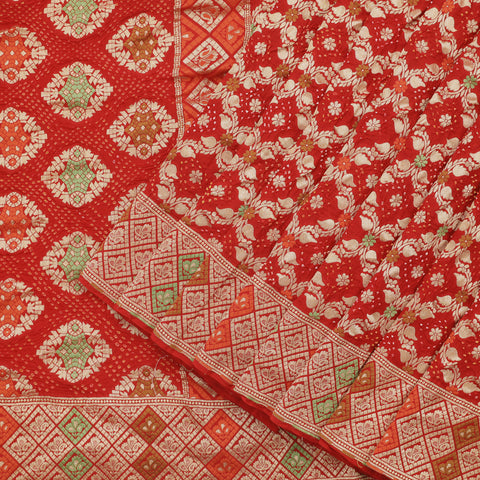 Crimson Red Kadhi Benarasi Handwoven Saree