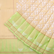 Powder white kora saree