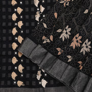 Ebony Black Tussar saree