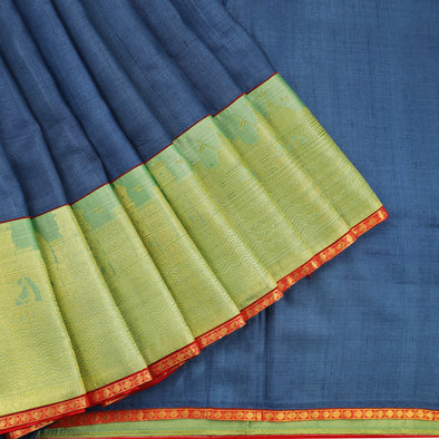 Tussar silk saree in blue and green