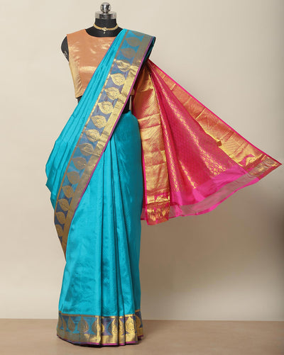 Sky blue pure silk saree