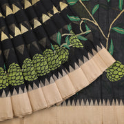 Brilliant Black Khadi Handloom Saree