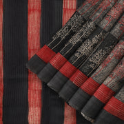 Black and Red printed tussar saree