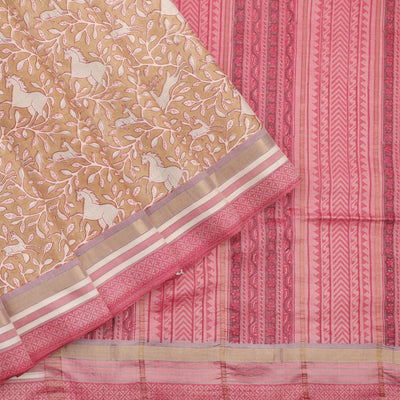 Peachy pink printed silk saree