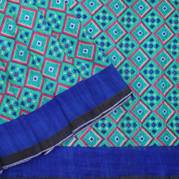 Sea green and royal blue Silk dupion saree
