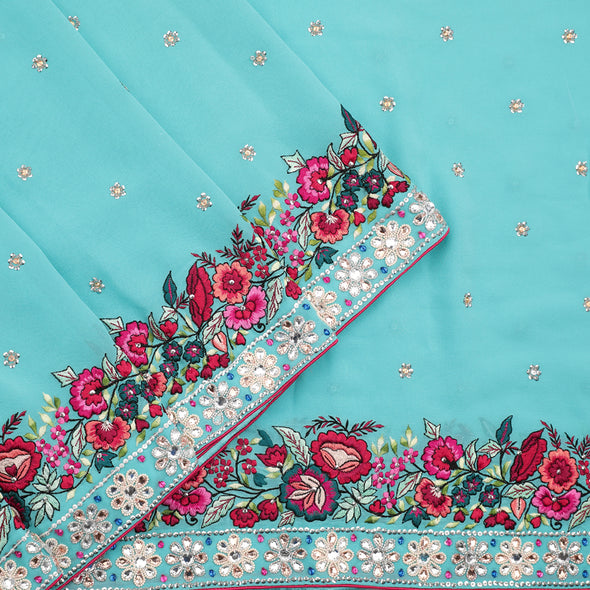 Aqua blue gara embroidery georgette saree