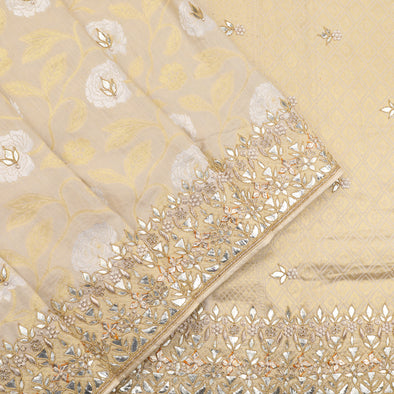 cream banarasi tussar gotta patti work saree