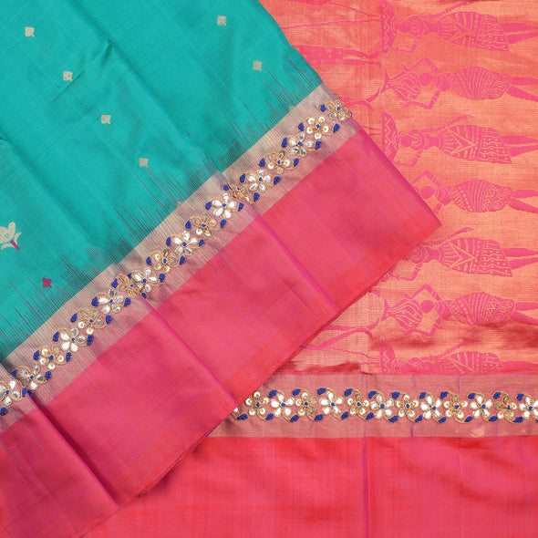 Blue Green Soft Silk Saree with Gota Pati Embroidery