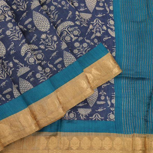 Ink blue pure silk dupion printed saree.