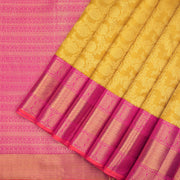 Mustard yellow Kanchipuram silk saree
